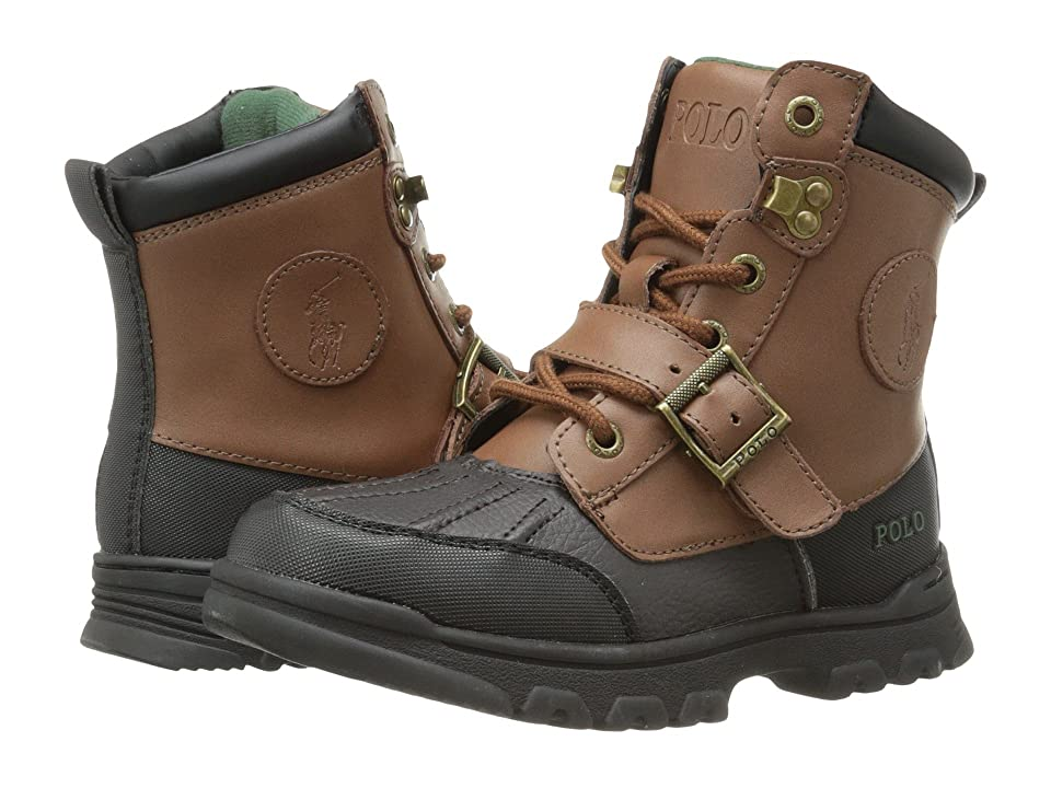 Polo Ralph Lauren Kids Colbey Boot FT14 (Little Kid) (Chocolate Tumbled/Tan Burnished Leather) Boys Shoes