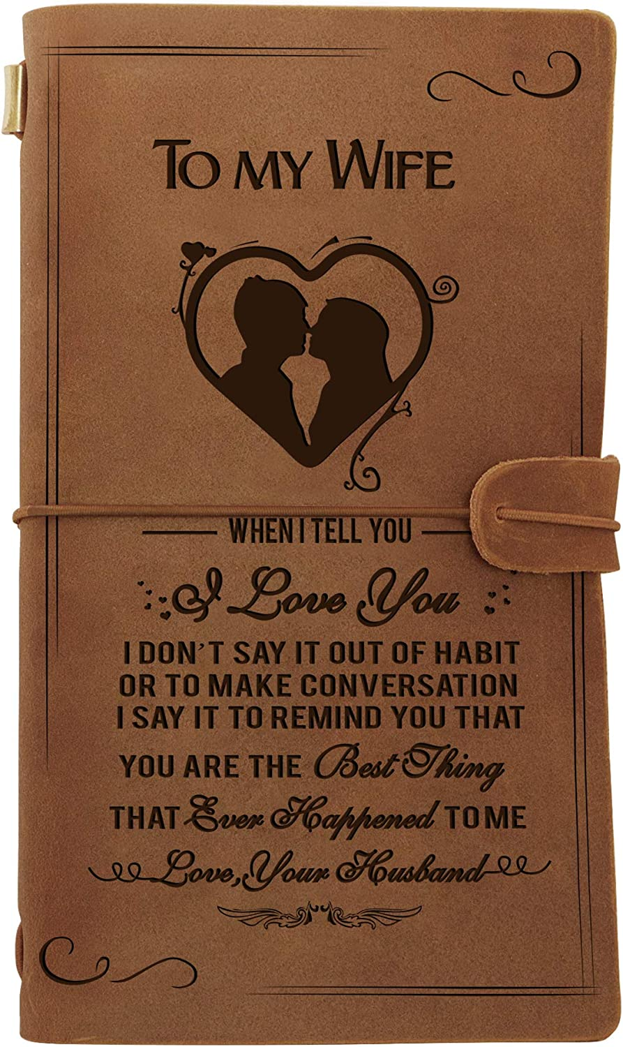 Engraved Leather Notebook To My Genuine quality assurance Gifts- Wife Fees free Hand-Crafted