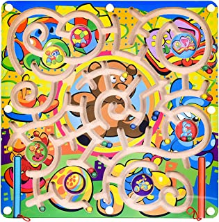 FUN LITTLE TOYS Wooden Toys Magnetic Puzzle Board, Wooden Magnetic Puzzle Activity Game, Birthday Gift for Boys & Girls