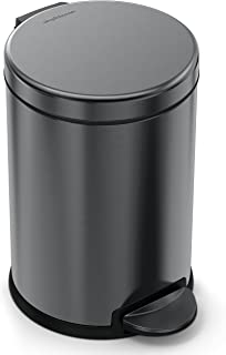 simplehuman 4.5 Liter / 1.2 Gallon Stainless Steel Round Bathroom Step, Black Trash can
