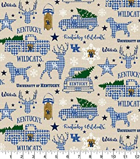 University of Kentucky Cotton Fabric with Christmas Design-Limited Edition Design-