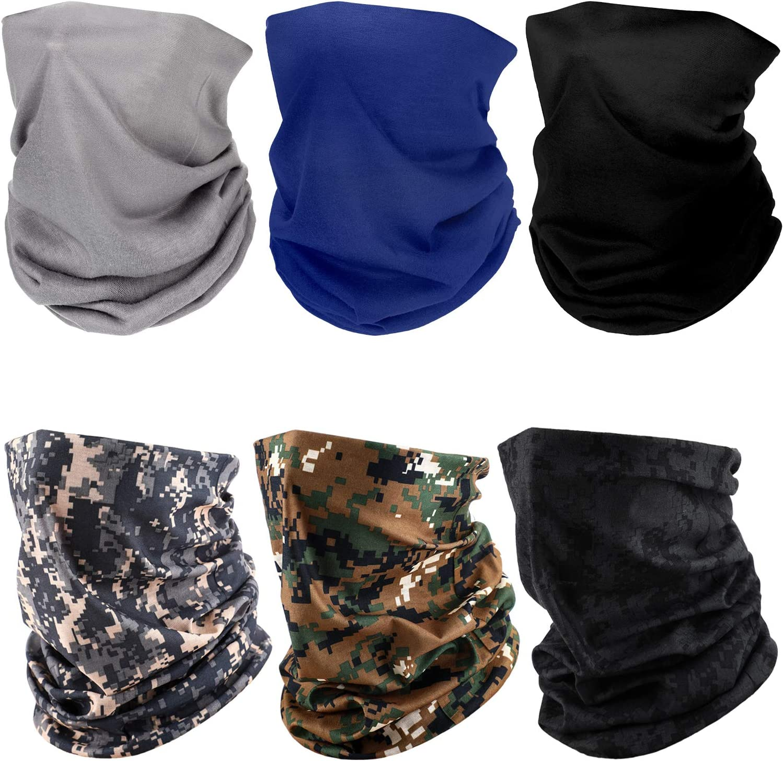 6 Pieces Lightweight Neck Gaiter Elastic Face Cover Scarf Summer Sun Protection Headwrap Balaclava for men women: Automotive