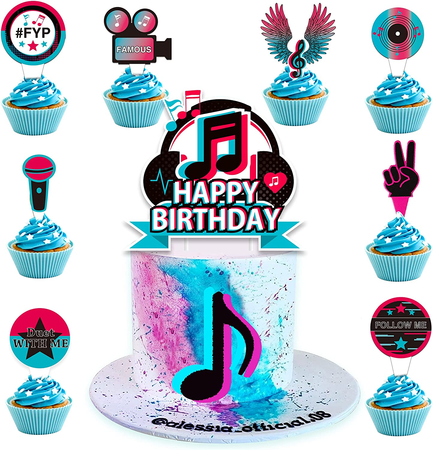 Musical Happy Birthday Cake Topper, Hot Music Note Themed Topper Celebrate Birthday Cupcakes Topper, Party decor Decorations,Set of 25