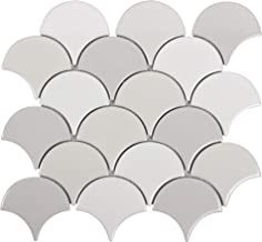 MTO0242 Modern Fan Fish Scale Gray White Glazed Natural Ceramic Mosaic Tile