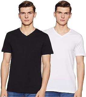 Amazon Brand - Symbol Men's Solid Regular Fit Half Sleeve Cotton T-Shirt (Combo Pack of 2)
