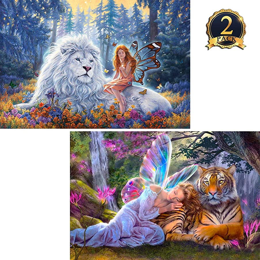 2 Pack 5D Diamond Painting Butterfly Fairy and Beast Full Drill by Number Kits for Adults Kids, Ginfonr Craft Rhinestone Lion, Tiger and Beauty Paint with Diamonds Set Arts Decorations (12x16inch)