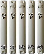 S&S MEZUZAH CASE Holder (shidell) China White Color Plastic Silver shin and Nice Design מזוזה Rubber Cork 6.3/4 inch for 1...
