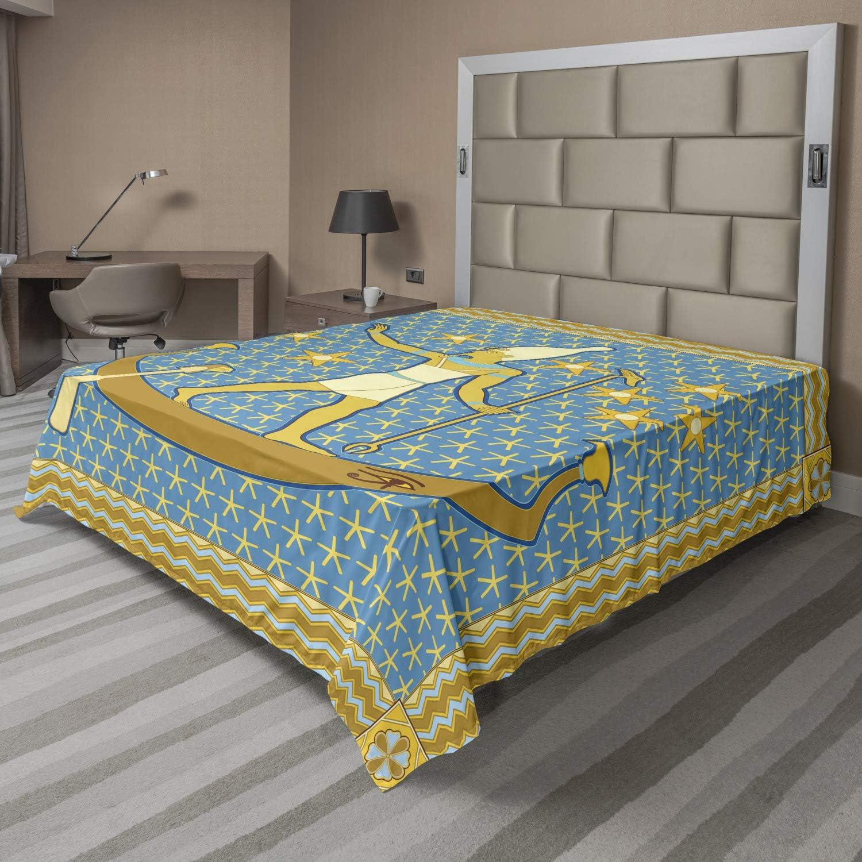 Lunarable Egyptian Print Flat Max 77% OFF Sailing Tulsa Mall Sheet Pharaoh on