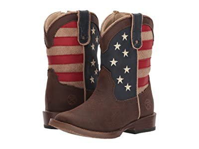 Roper Kids American Patriot (Toddler) (Brown Faux Leather Vamp Stars & Stripes Shaft) Cowboy Boots