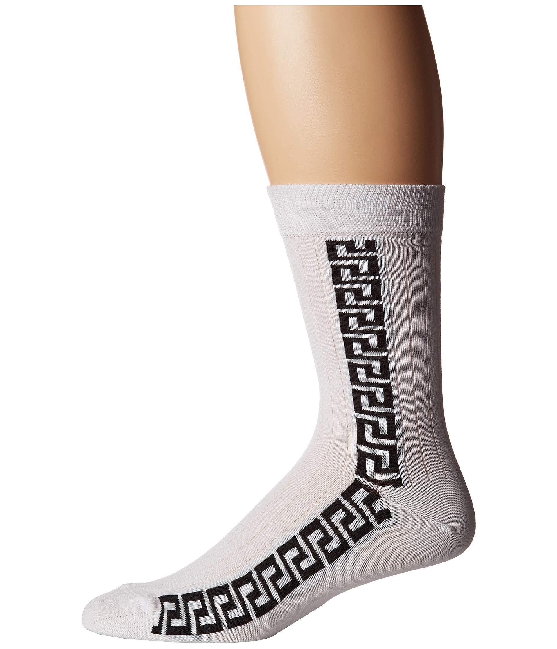 Key Sock Greca Versace Strip black White H5a5q6