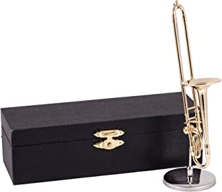 Broadway Gifts Gold Trombone Music Instrument Miniature Replica with Case - Size 5.5 in.