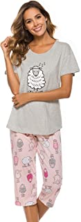LOCUBE Women's Pajama Sets Short Tops with Capri Pants Cotton Sleepwear Ladies Sleep Sets