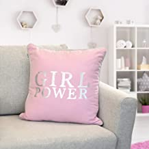 "Urban Loft by Westex Girl Power Silver & Pink Polyester Filled Decorative Throw Pillow Cushion, 18"" x 18"""