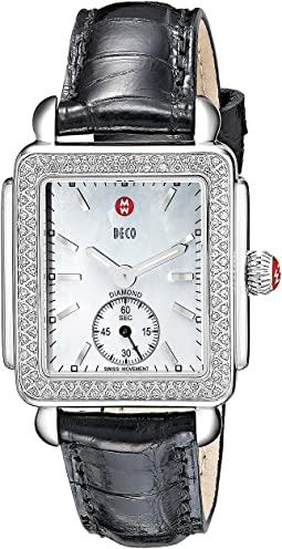 Deco Mid Diamond Black Alligator Watch