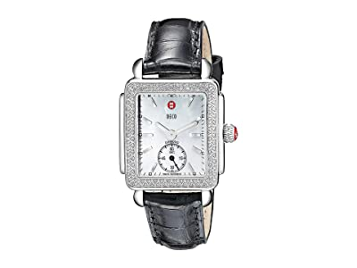 Michele Deco Mid Diamond Black Alligator Watch (Black/Silver) Watches