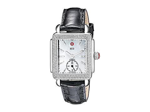 Michele Deco Mid Diamond Black Alligator Watch