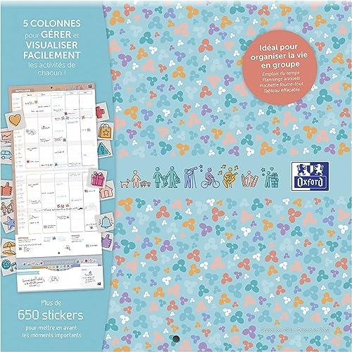 Calendrier Oxford Famille scolaire 16 mois 30x30cm 1 mois sur 2 pages Année 2021‐2022 Bleu Français