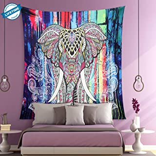 RUIYANG Tapestry Wall Hanging Bohemian Indian Art Print Mural Colorful Elephants Tapestries Green Peafowl Wall Tapestry for Bedroom Living Room Dorm Home 59×82 Inches (Mixed Colour)