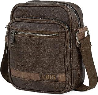 Lois - Bandolera Hombre de Piel Ecológica Pequeña - Bolso de Hombro Hombre con Cremallera Marca Lois Uso Casual y Viaje - ...