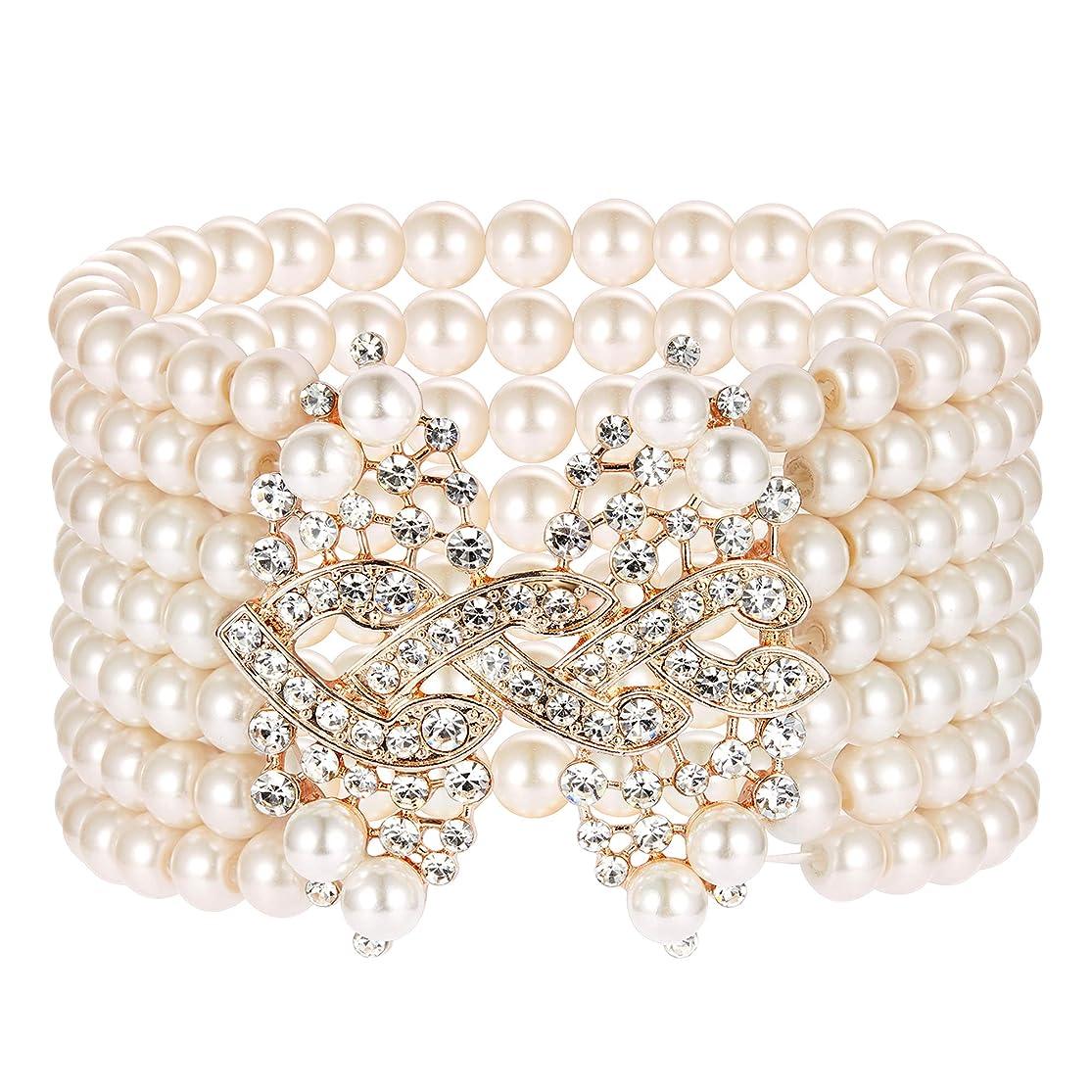 BABEYOND 1920s Art Deco Bracelet Flapper Pearl Bracelet Great Gatsby Elastic Imitation Pearl Bracelet Roaring 20s Accessories Jewelry 7 Rows vzychvtw2