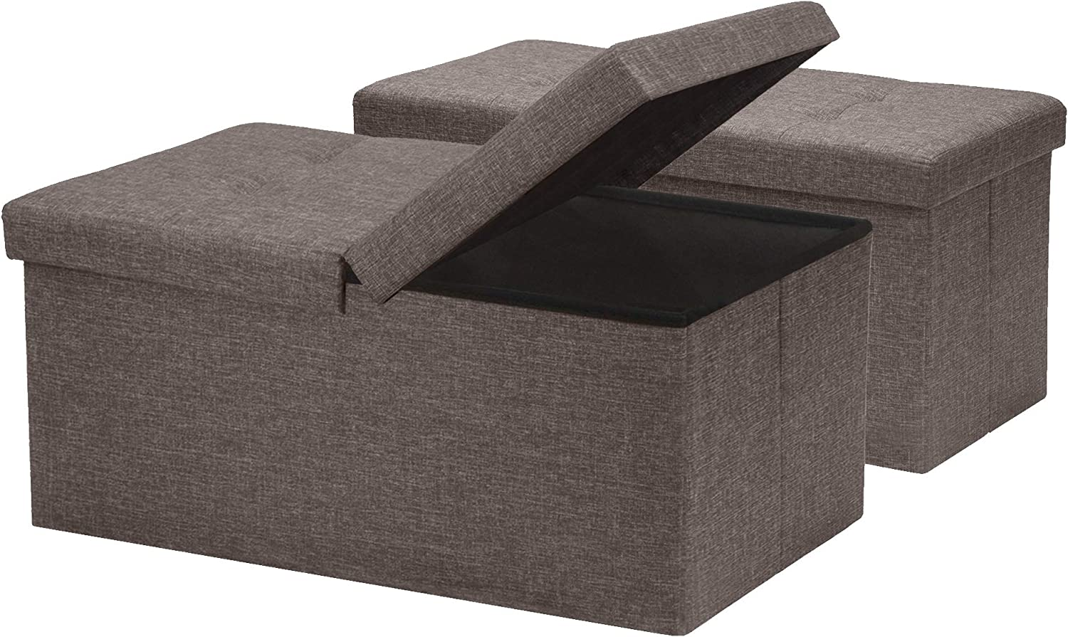 Otto & Ben [2pc Set] Folding Toy Box Chest with SMART LIFT Top Linen Fabric Ottomans Bench Foot Rest for Bedroom and Living Room, Brown