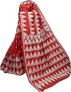 بلوزة ساري منسوجة يدويًا من حرير بانغالور الممزوج بالهندي الأحمر للسيدات من مجموعة كانثا منسوجة يدويًا 909 2