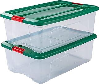 Iris Ohyama NTB-30 - lote de 2 cajas apilables de almacenamiento, Transparente/verde/rojo, 30 L