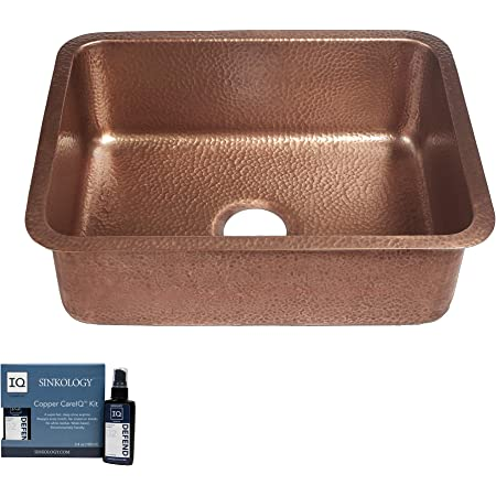 Sinkology SK201-23AC-AMZ Renoir Handmade 23 CareIQ Kit Undermount, Kitchen Sink, Single Bowl, Antique Copper