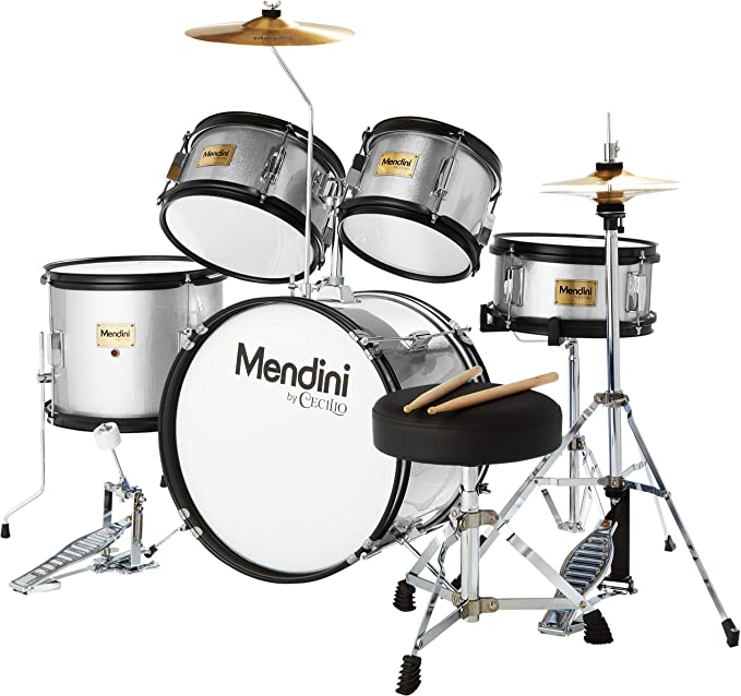 Mendini By Cecilio Silver MJDS-5-SR - Starter Drums Kit
