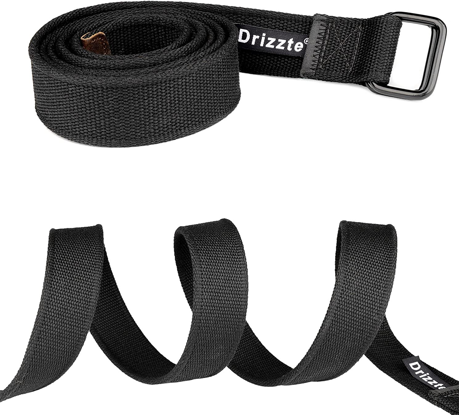 Drizzte Plus Size 39-75'' Long Double Ring Big Mens Canvas Fabric Cloth Belts Black