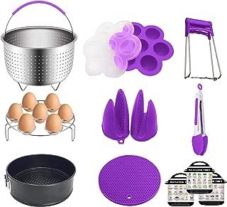 Pressure Cooker Accessories Set for Instant Pot 6qt 8 quart   Steamer Basket, Springform Pan, Egg Bites Mold & Rack, 3 Magnets with Cheat Sheets, Kitchen Tongs, Oven Mitts, Trivet Mat