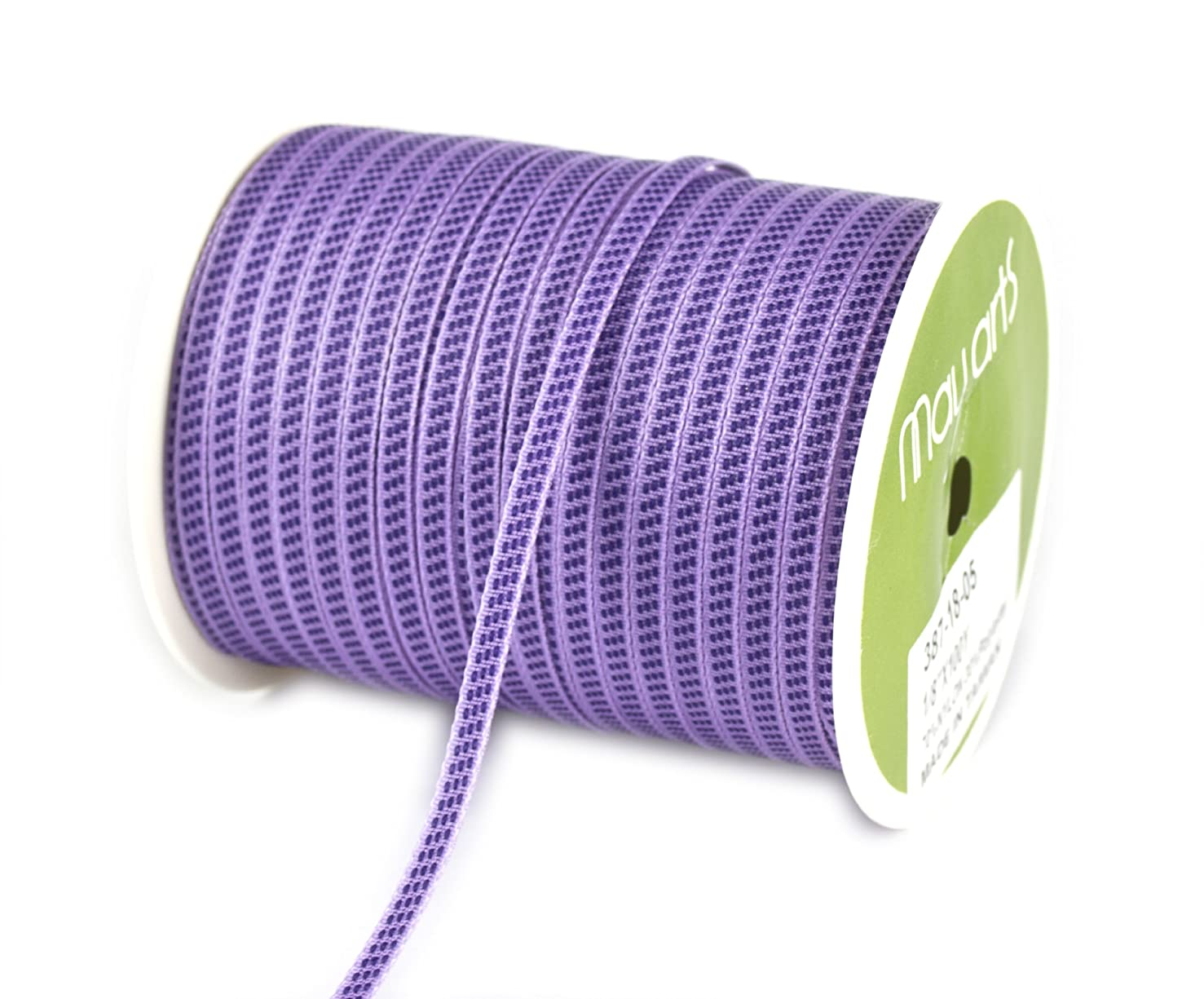 May Arts 1/8-Inch Wide Ribbon, Lavender with Purple Stitches