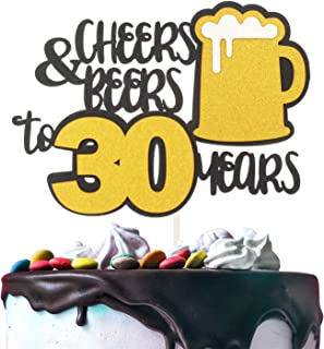 Cheers & Beers to 30 Years Gold Glitter Cake Topper Happy Birthday Wedding Anniversary 30th Party Decoration - 7'' x 8'' Thirty Bday Topper.