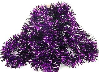 Fix Find Elegant Hanging Tinsel Garland - Halloween Themed - Metallic Purple with Black