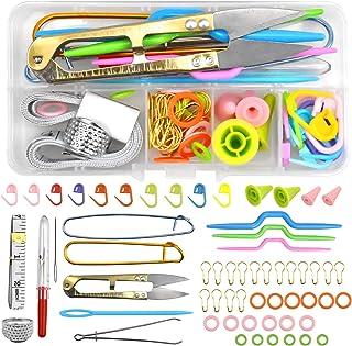 Skyzone Ensemble d'accessoires d'outils de couture à tricoter 56 pièces, crochets à crochet Kit de tricot et accessoires a...