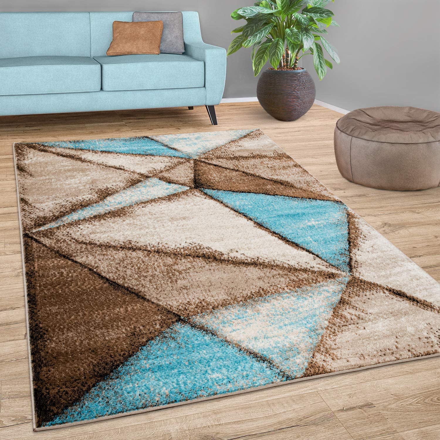 Area Rug Factory outlet for Living Room with Blue Geometric Beige in Max 83% OFF Br Pattern