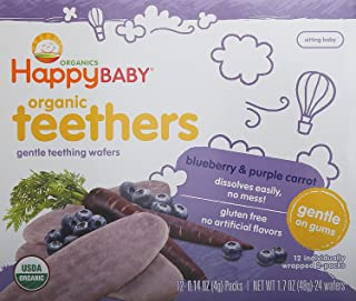 Happy Family Baby Gentle Teethers Organic Teething Wafers , 0.14 Ounce Packets (Box of 12) Soothing Rice Cookies for Teeth...
