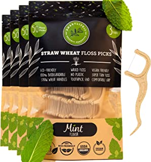 Biodegradable Dental Floss Picks - Natural Plastic Free Handle | Thin Thread Tooth Flossers for Adults & Kids | Toothpick Stick Soft on Gum & Teeth | Eco Friendly Zero Waste Vegan Threader (200, Mint)