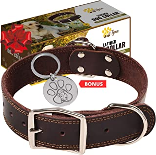 ADITYNA Leather Dog Collar for Small, Medium and Large Dogs - Heavy Duty Wide Dog Collars with Durable Metal Hardware & Double D-Ring - Unique Name Tag Included