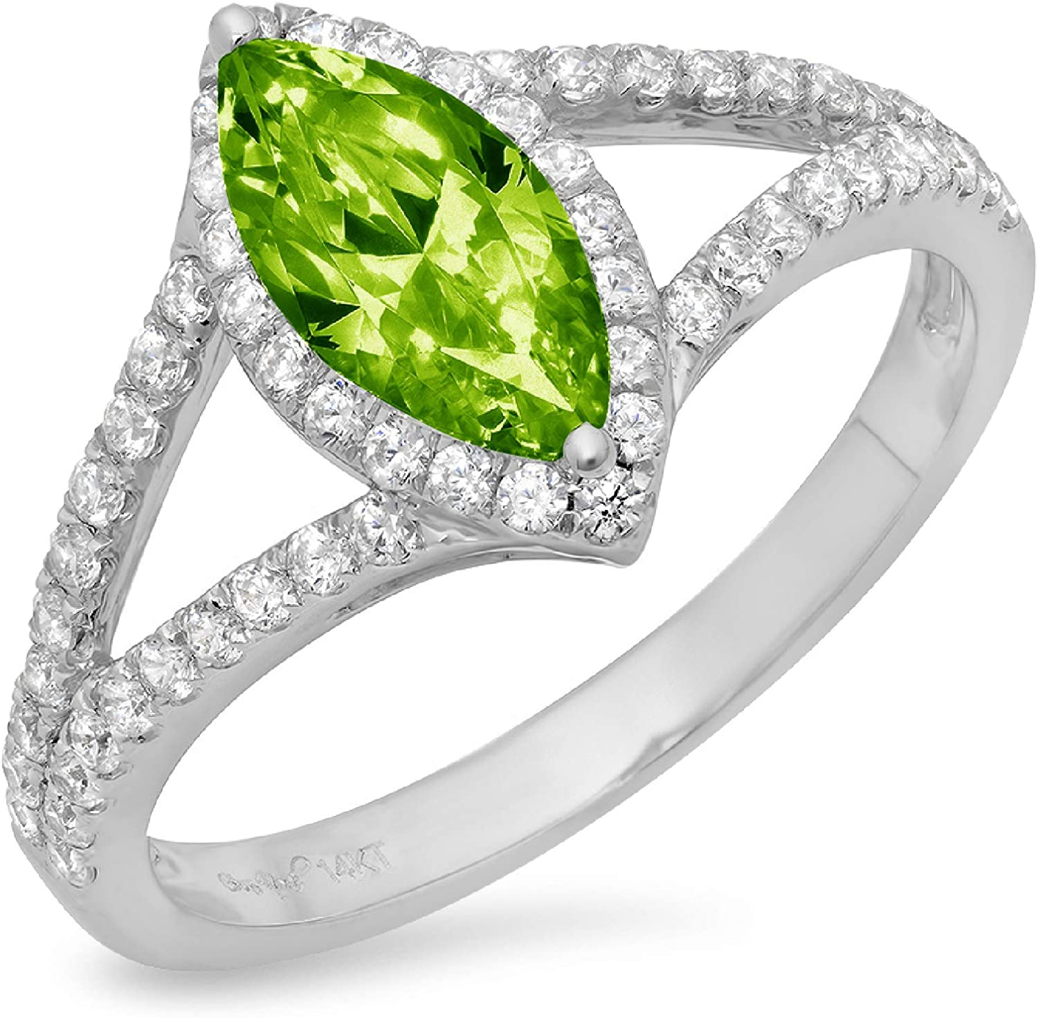 1.17ct Marquise Cut Solitaire with Accent split shank Halo Flawless Genuine Natural Pure Green Peridot Gemstone VVS1 Designer Modern Statement Ring Solid 14k White Gold
