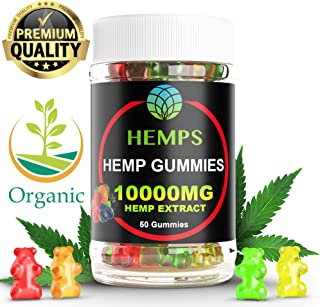 Premium Hemp Gummy Bears , 50 Count, 200mg Per Gummy (10000mg), Natural Calm, Sleep Aid, Stress, Pain and Anxiety Relief, Inflammation, Nausea, Pure Naturally Occurring Hemp Oil Organic