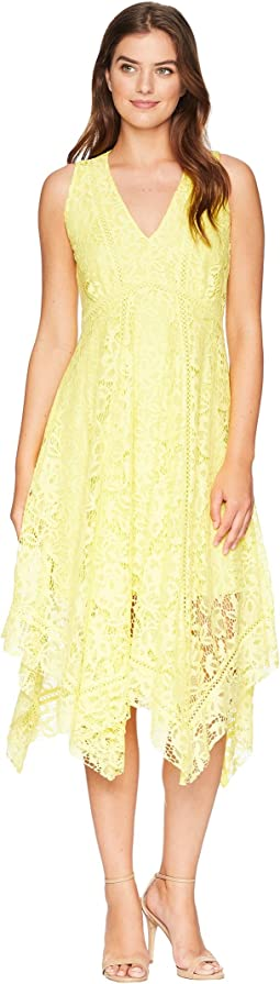 Sleeveless Lace Handkerchief Hem Dress