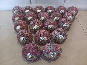 Knobsworld Keramische knoppen, kastknoppen, kastgreep, ladegreep in vintage-look, voor laden, kastdeuren, 20 stuks, roze