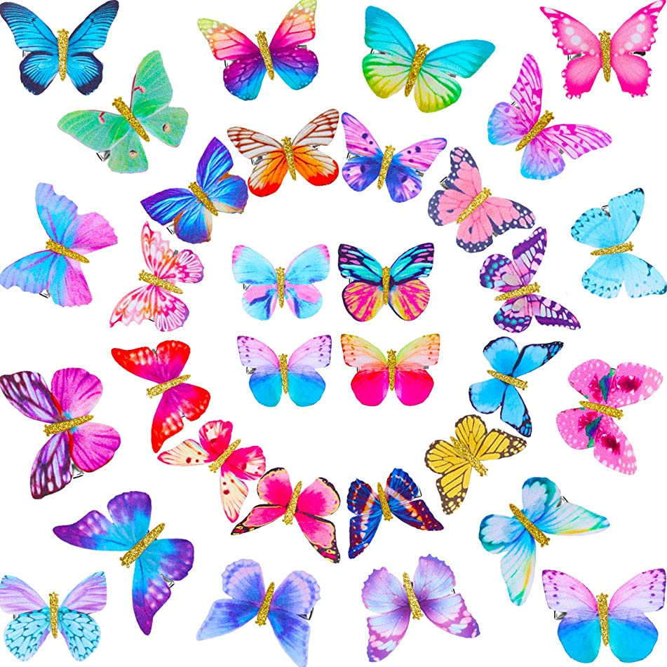32 Pieces Butterfly Clips Butterfly Glitter Barrette Hair Clips for Women Girls Hair Accessories