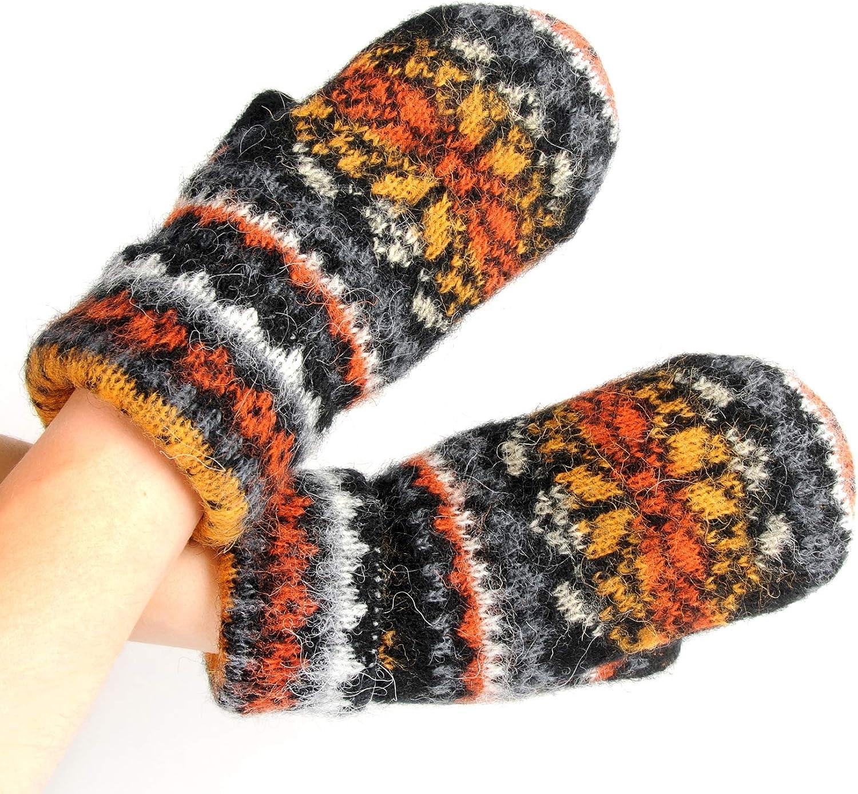 Warm Women Knit Mittens 100% Icelandic Wool Fleece Lined by Freyja Canada