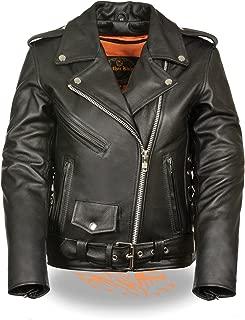 LC2700 Ladies Black Classic MC Premium Leather Jacket-Side Laces