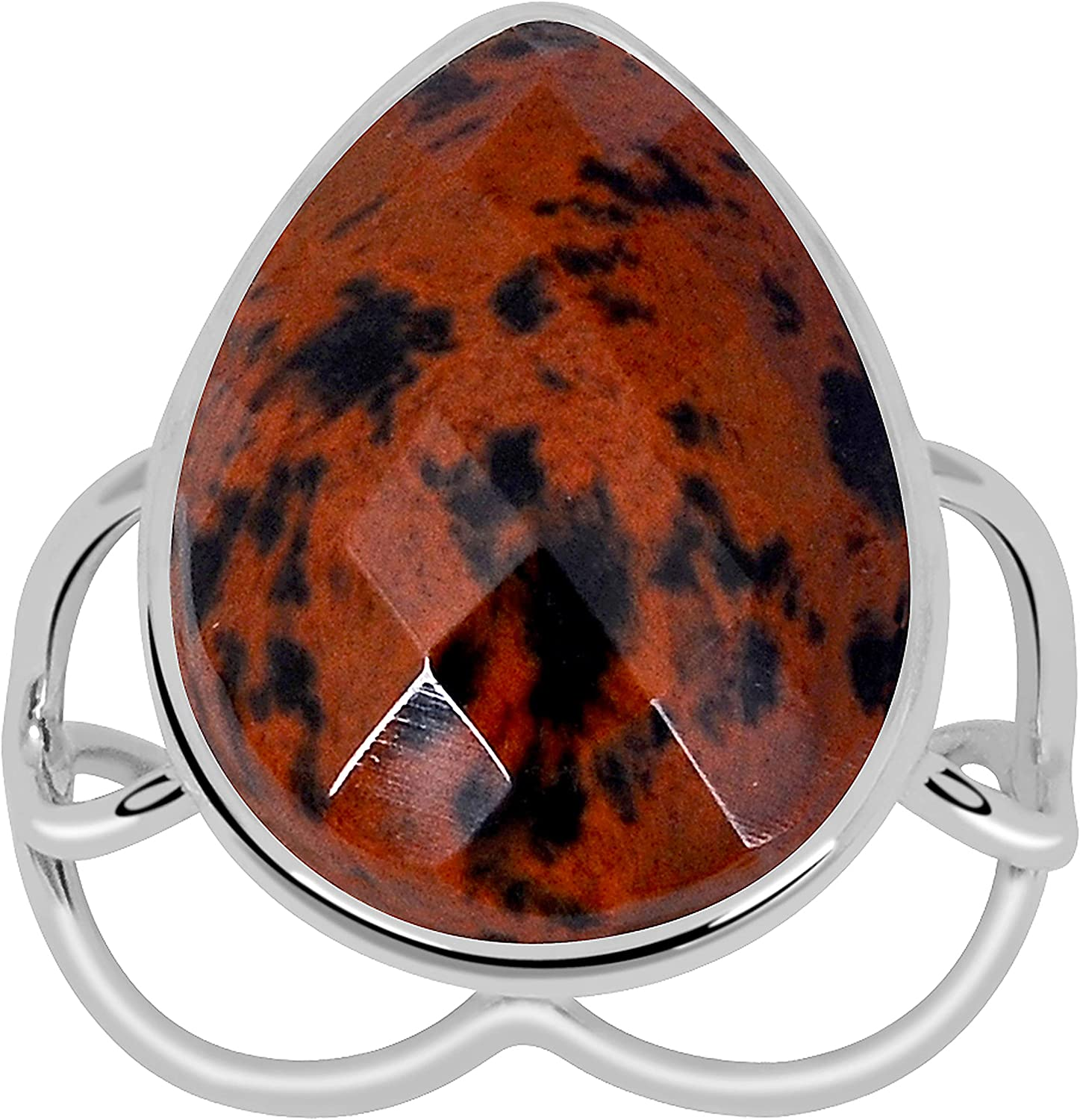 Orchid Jewelry 925 Sterling Silver Red Mahogany Obsidian Anniver