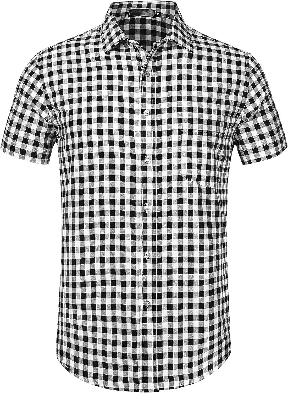 Lars Amadeus Men's Dress Shirt Summer Short Sleeve Button Down Plaid Check Shirts