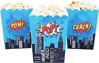 Mini Superhero Theme Birthday Party Popcorn Favor Boxes (10 Count) - Red Yellow & Blue Super Hero Colors