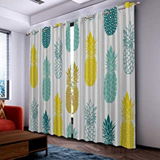 SIMIGREE Fresh Blue and Yellow Pineapple Blackout Curtains Darkening Thermal Insulated Blackout Window Curtains for Living Room Bedroom Window Drapes 2 Panel Set 52